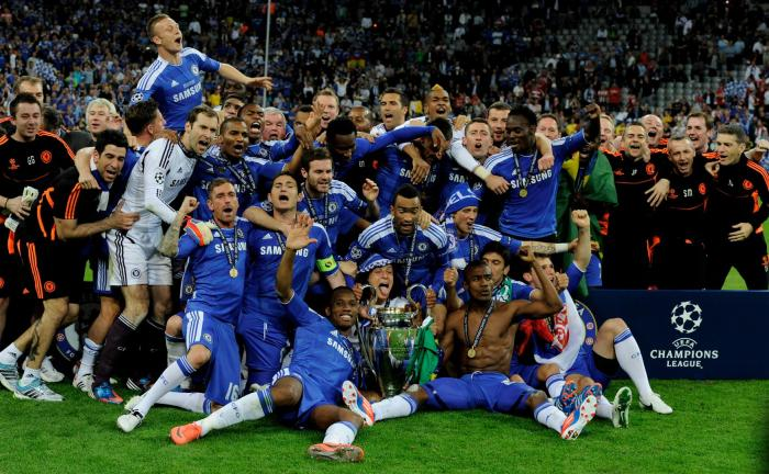 Chelsea celebrating their first Champions League trophy.