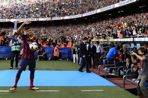 Neymar during his Unveiling at the Nou Camp