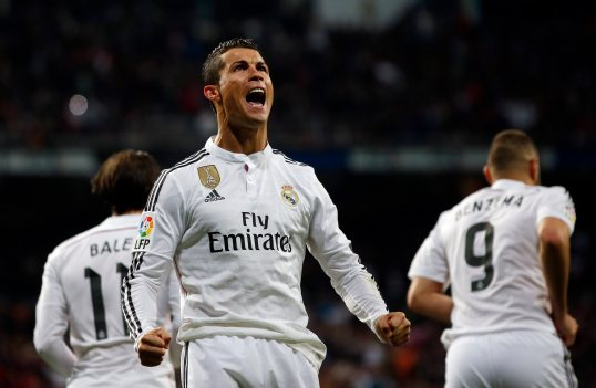 Real Madrid's Ronaldo celebrates his goal against Villarreal during their Spanish first division soccer match at Santiago Bernabeu stadium in Madrid