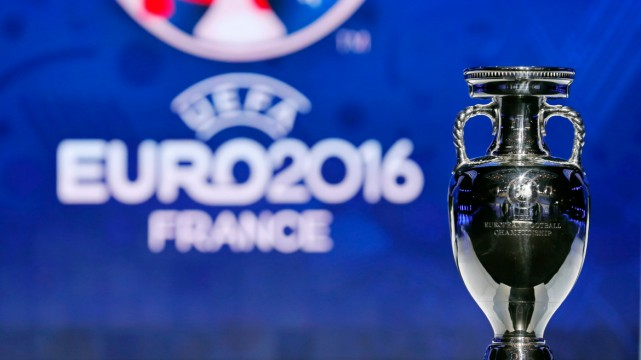 The trophy of the Euro 2016 is seen before the UEFA Euro 2016 qualifying draw in Nice
